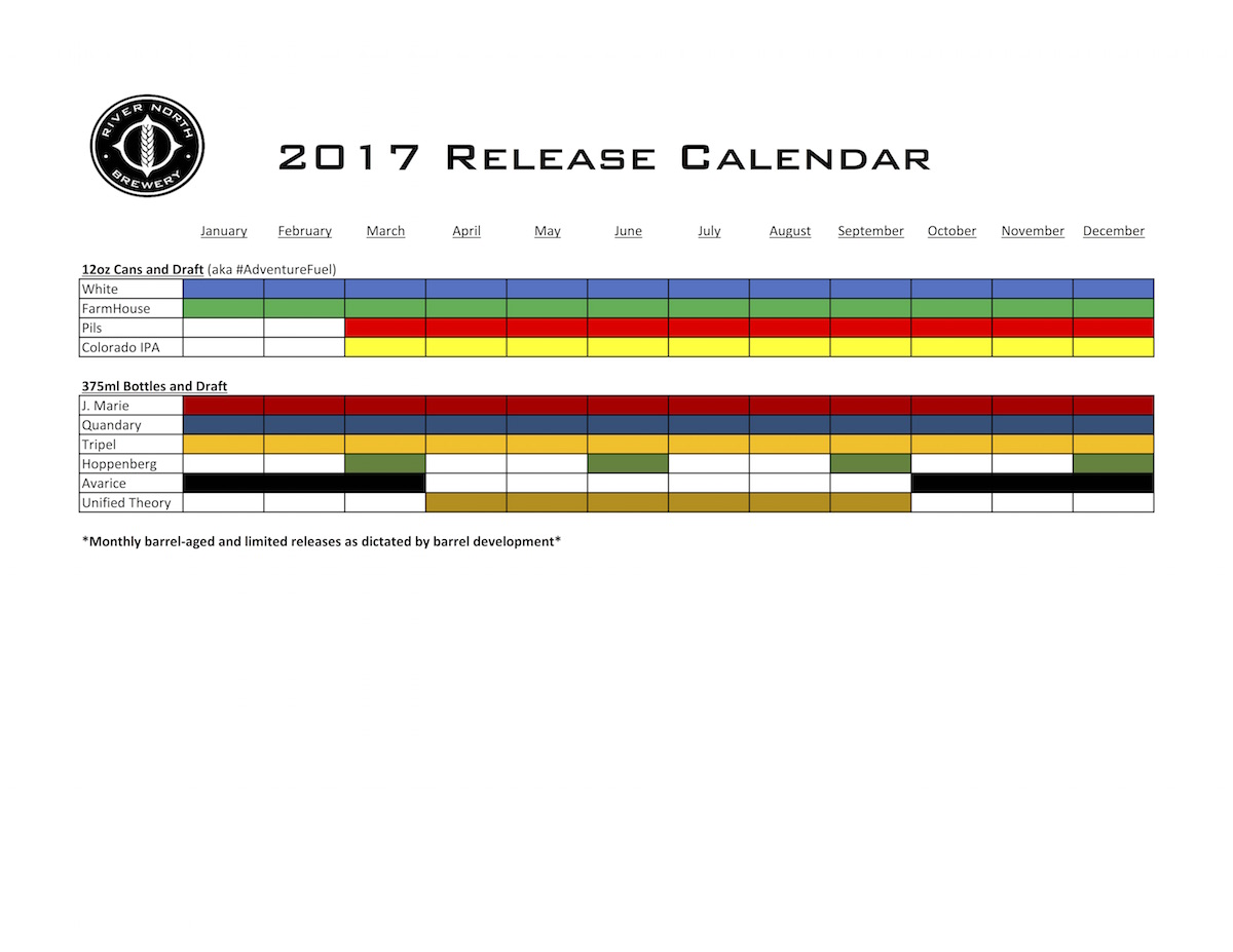 2017 River North Brewery Beer Release Calendar