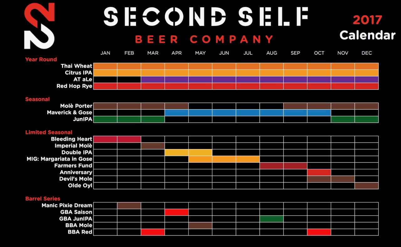 2017 Second Self Beer Release Calendar