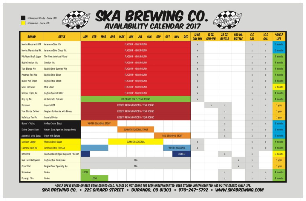 Ska Brewing Beer Release Calendar 2017