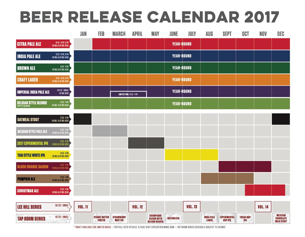 2017 Upslope Brewing Beer Release Calendar