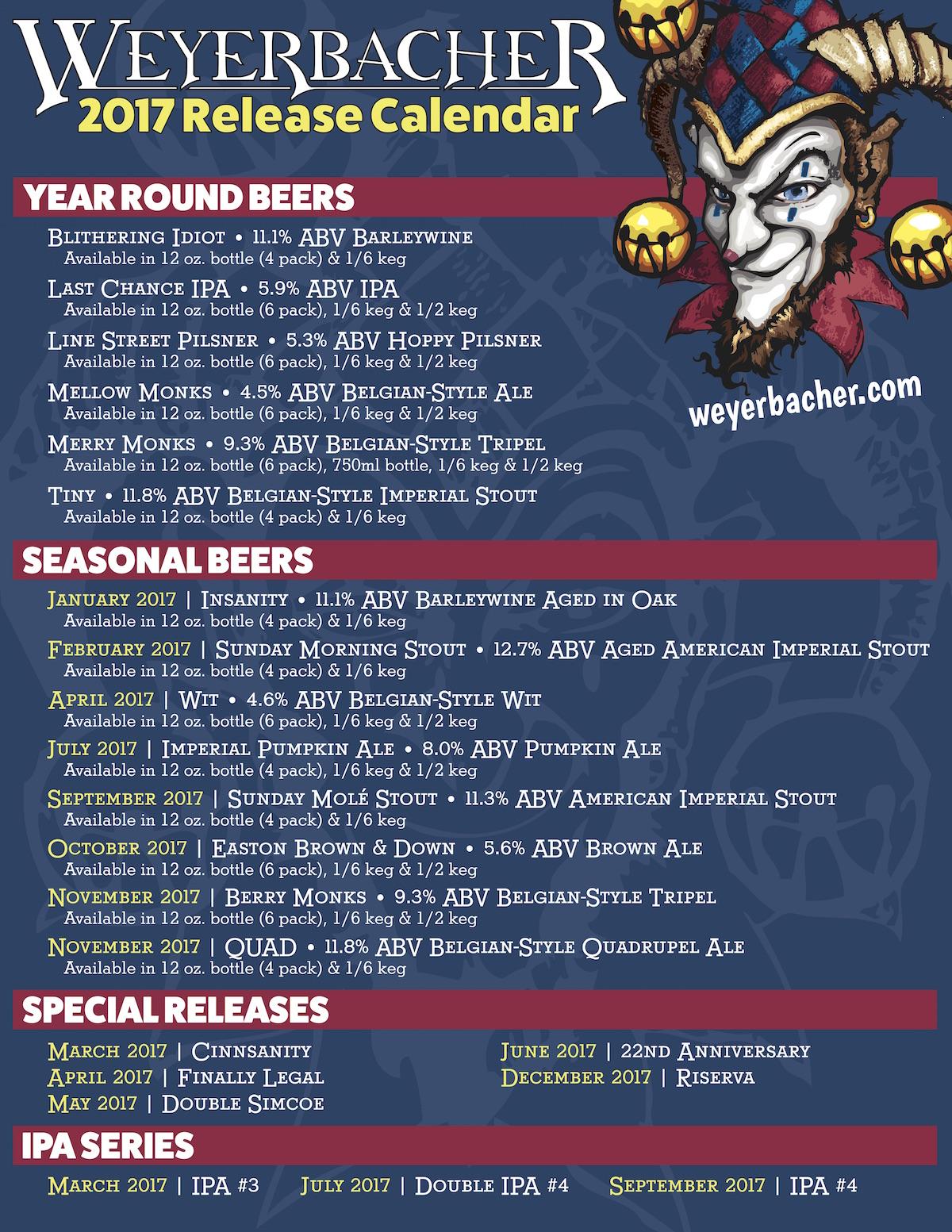 2017 Weyerbacher Beer Release Calendar