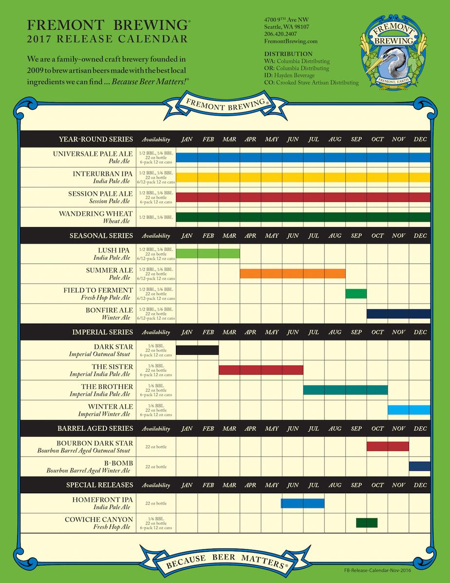 2017 Fremont Brewing Beer Release Calendar