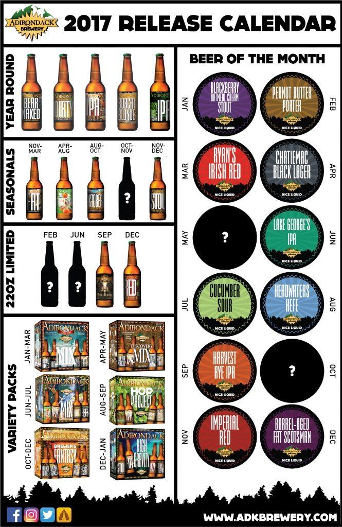 Adirondack Brewery Beer Release Calendar 2017