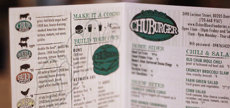 The CHUBurger menu; credit: Desiree Duzich, Spoiled Beer Brat Productions