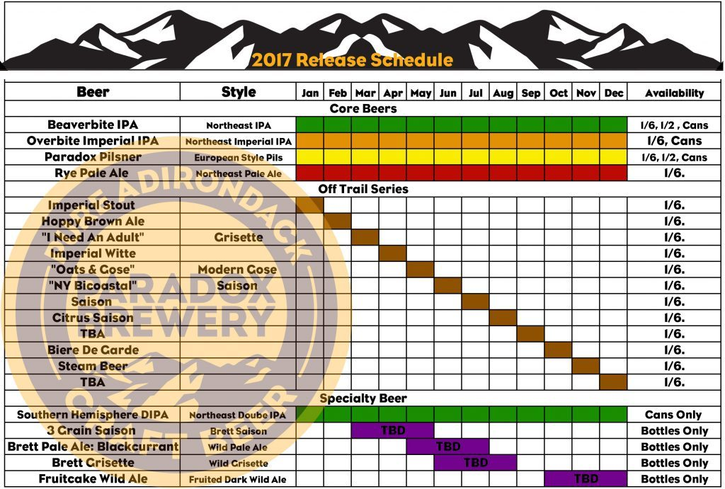 Paradox Brewery Beer Release Calendar 2017
