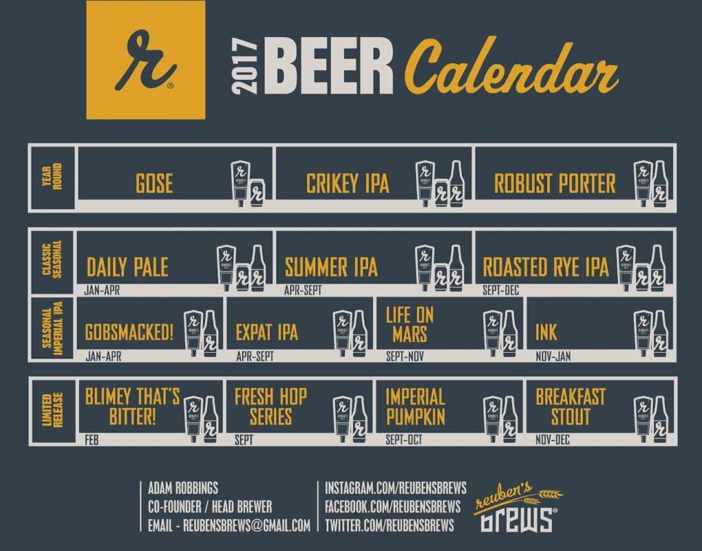 Reuben's 2017 Beer Release Calendar