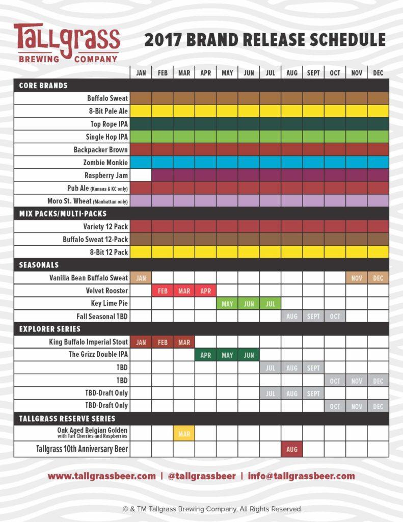 Tallgrass Beer Release Calendar 2017
