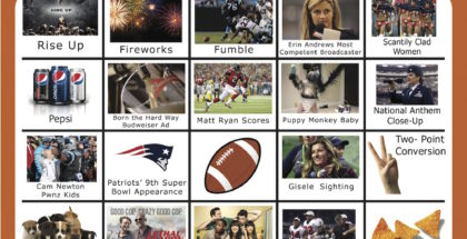 2017 Super Bowl Bingo Cards