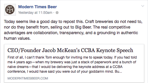 Modern Times Wicked Weed Response