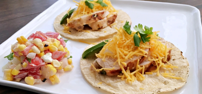 Citradelic Marinated Chicken Tacos with Mexican Street Corn Relish