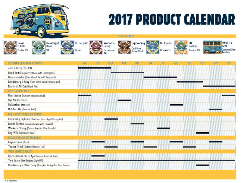 Two Roads Brewing Beer Release Calendar 2017