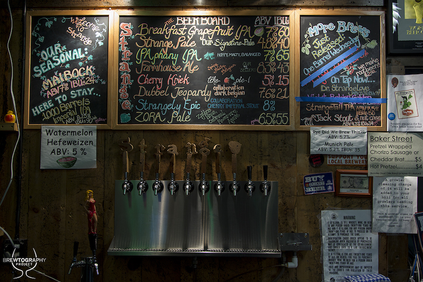 strange craft beer tap wall