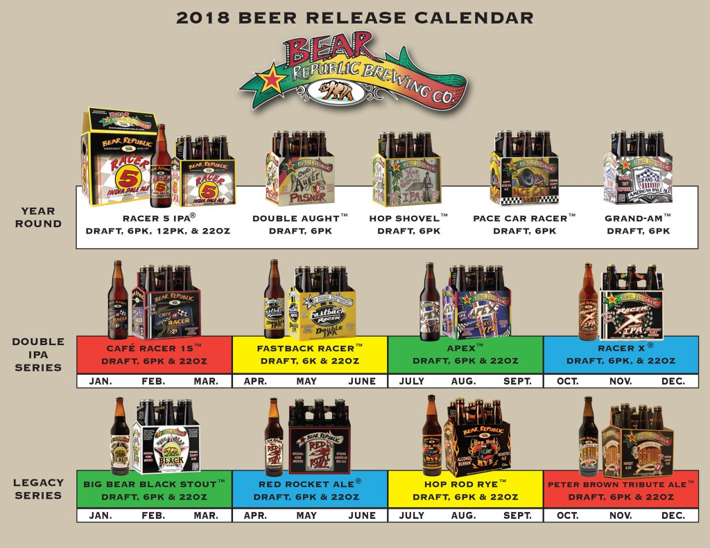 2018 Bear Republic Beer Release Calendar