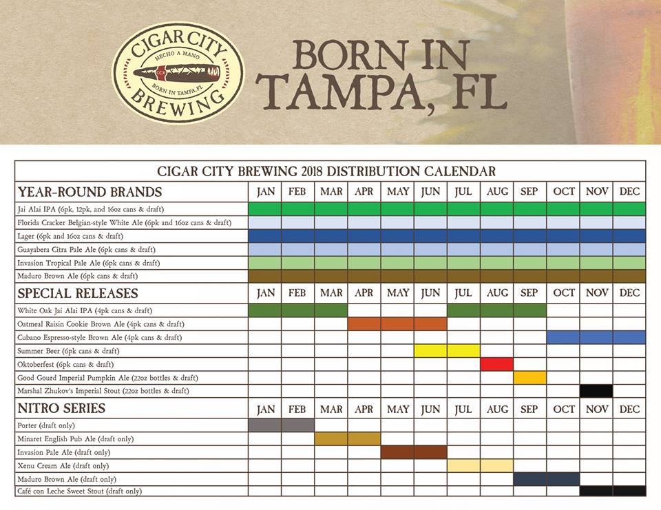 2018 Cigar City Beer Release Calendar