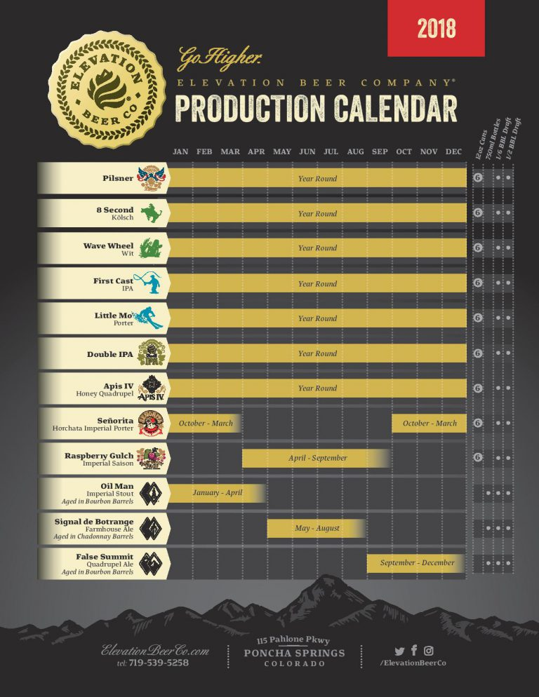 2018 Elevation Beer Release Calendar