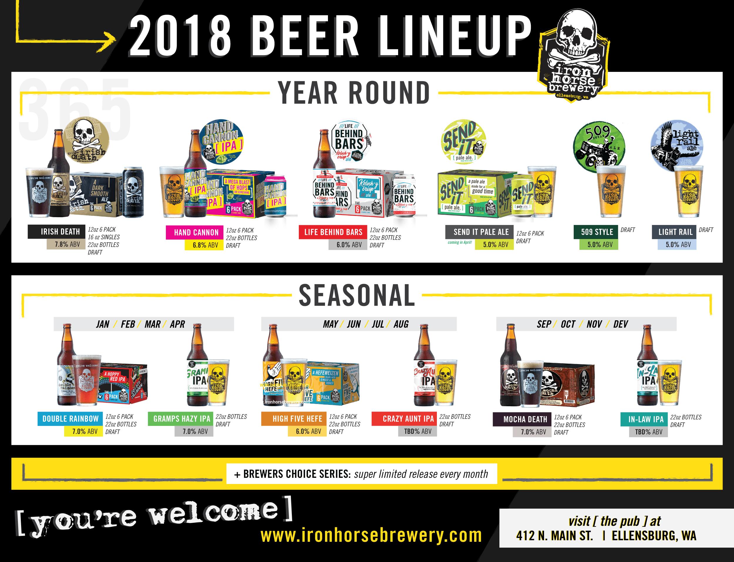 2018 Iron Horse Brewery Release Calendar