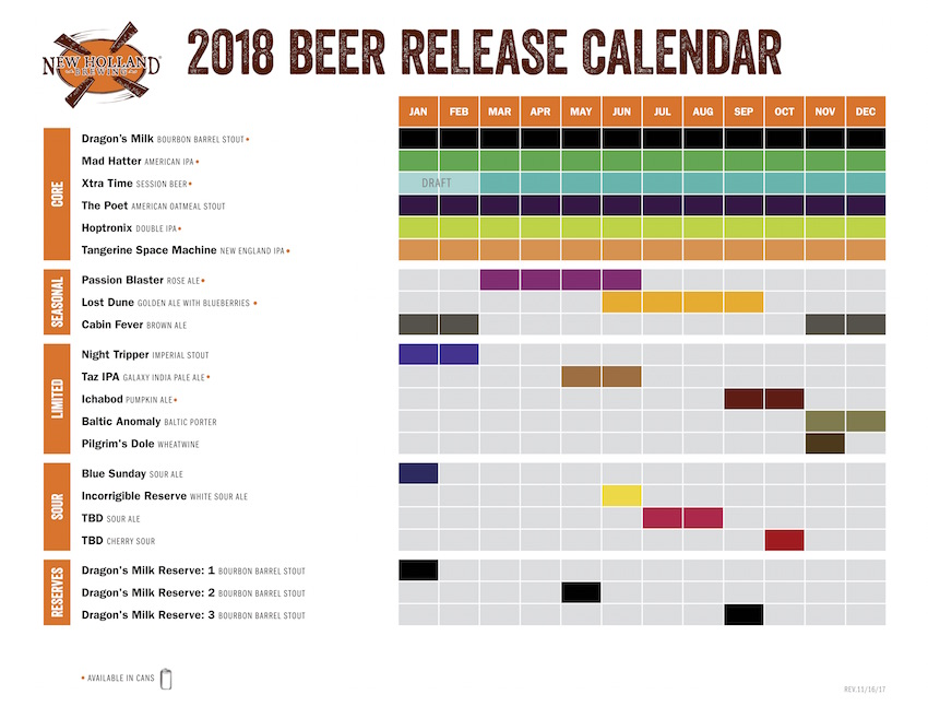 2018 New Holland Beer Release Calendar