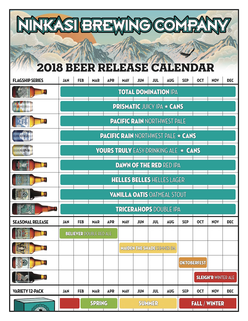 2018 Ninkasi Beer Release Calendar