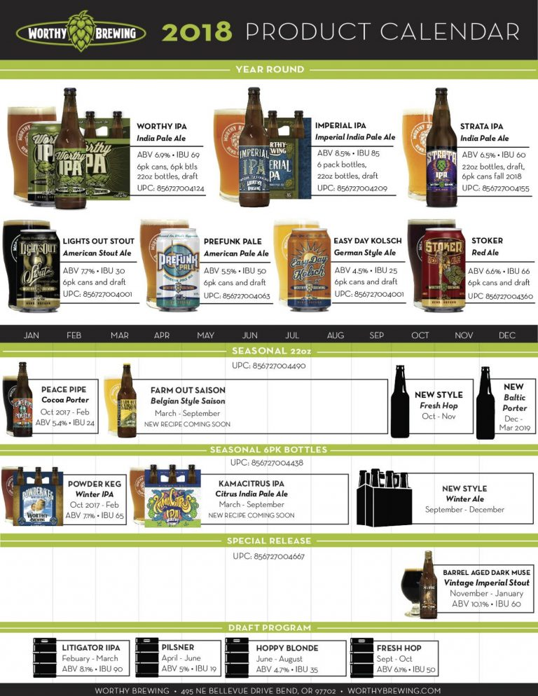 2018 Worthy Brewing Beer Release Calendar