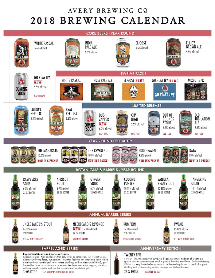2018 Avery Brewing Beer Release Calendar