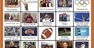 2018 Super Bowl Bingo Board