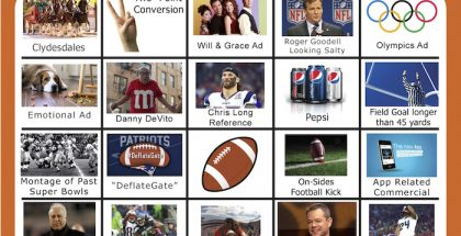 2018 Super Bowl Bingo Board