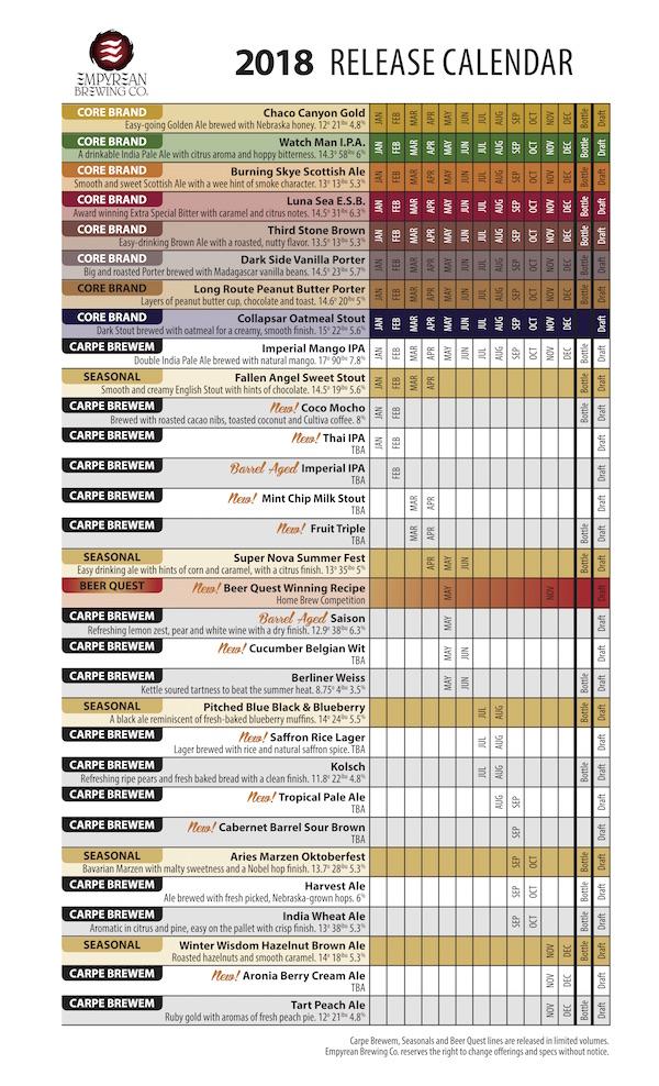 2018 Empyrean Beer Release Calendar