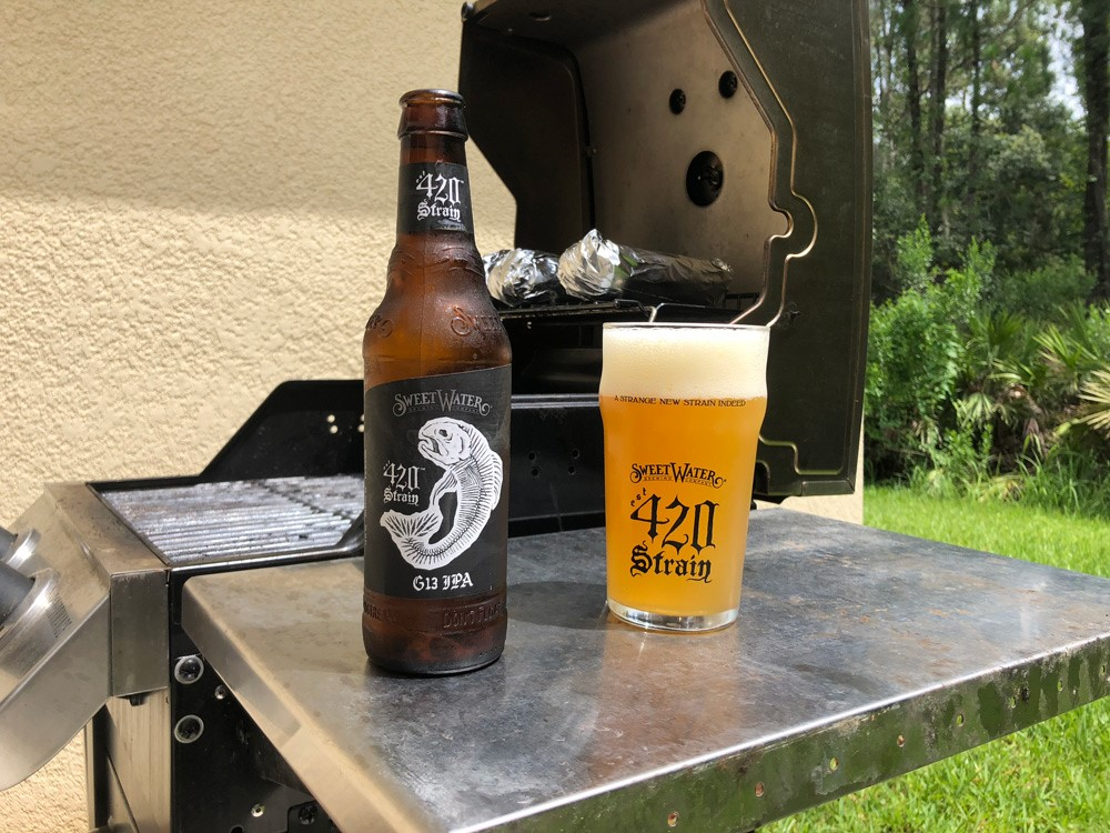 A fresh pour of 420 Strain G13 IPA while grilling