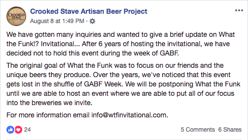 Crooked Stave Discontinuing What the Funk?!