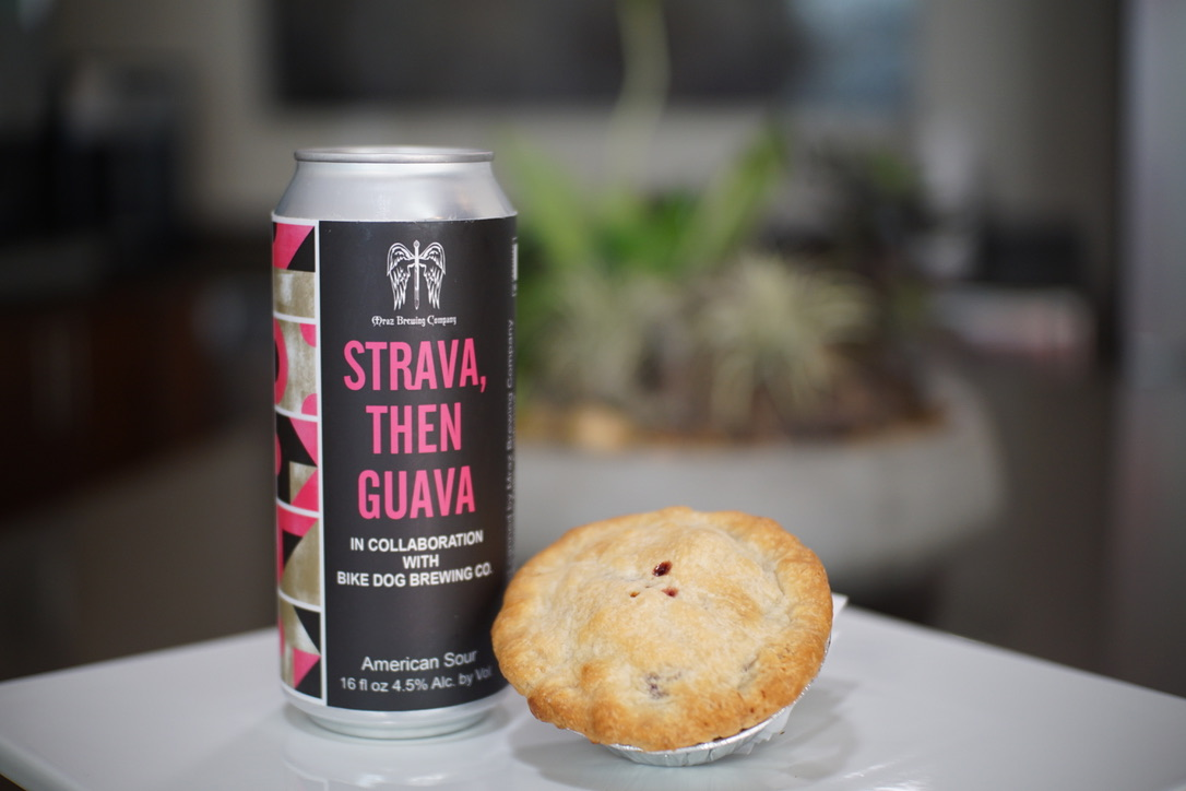 National Pie Day Beer + Pie Pairings Mraz and Bike Dog Strava then Guava and Strawberry Rhubarb Pie