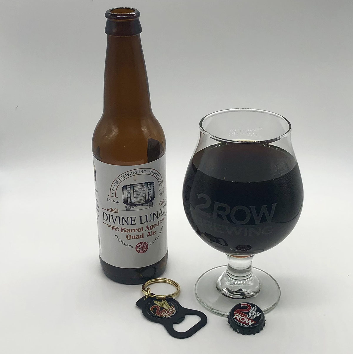 Divine Lunacy, a barrel-aged Belgian Quad by Utah's 2 Row Brewing, clocks in at 11.5% ABV and features aromas of caramel and toffee. Dark, dried fruits are prominent, as is some vanilla, making this a decadent sipper.