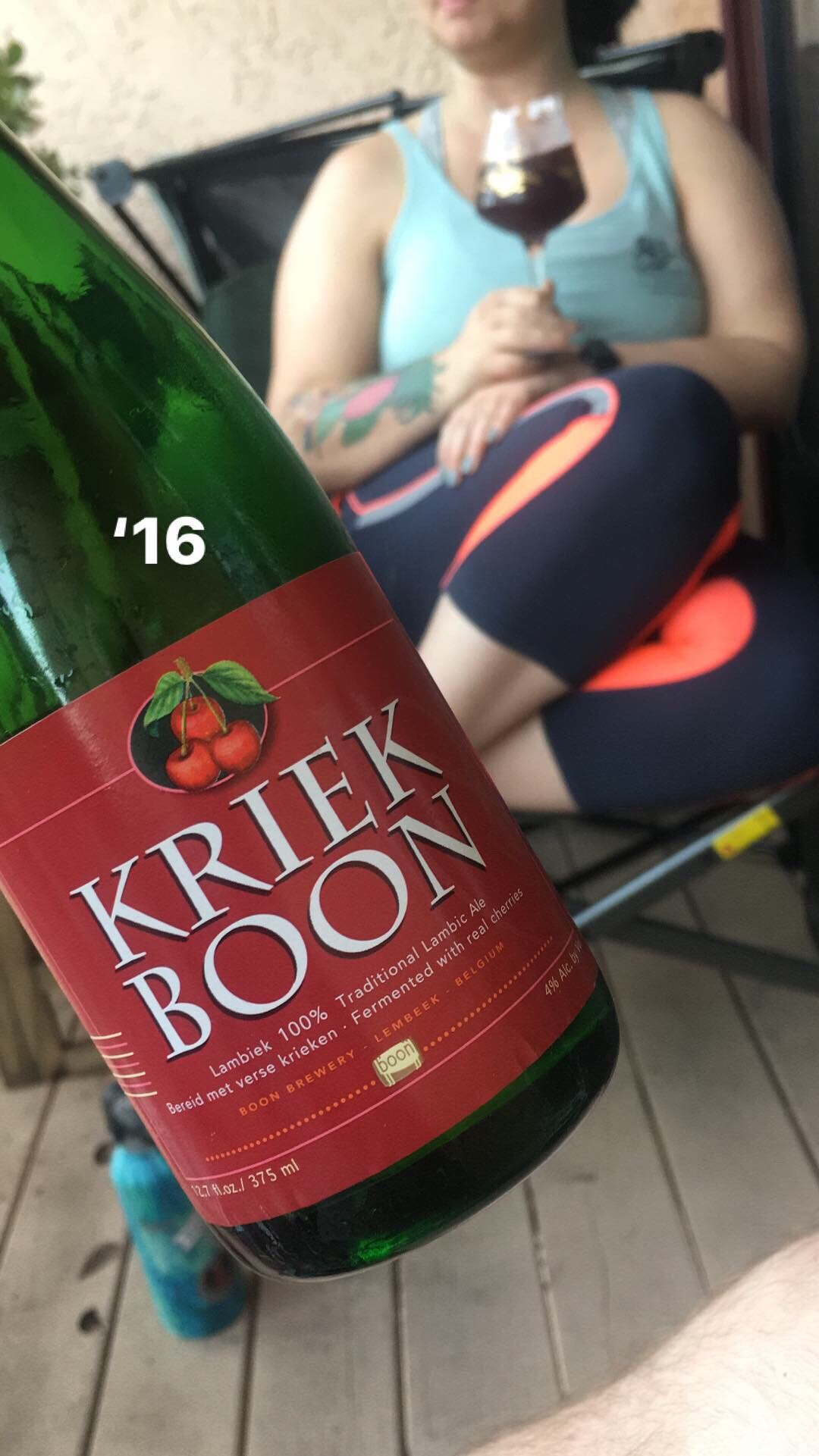 kriek boon on the porch