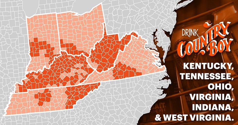 country boy brewing distro map