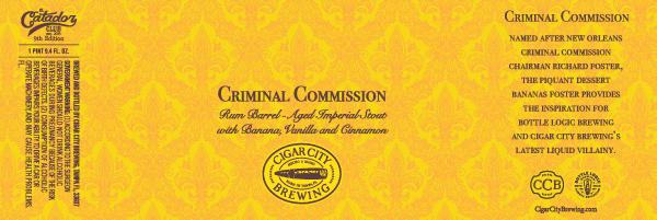 Image courtesy of Cigar City Brewing - Criminal Commission