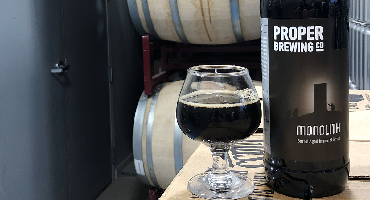 Monolith, a barrel-aged imperial stout, is Proper Brewing Co.'s first barrel-aged beer. Photo Credit: Tim Haran