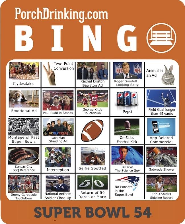 Super Bowl 54 Bingo Boards