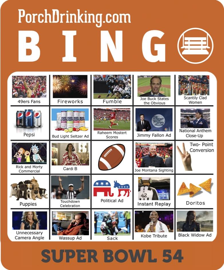 2020 Super Bowl 54 Bingo Boards