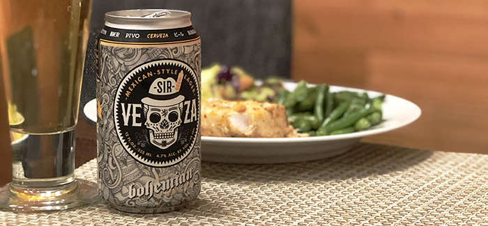 Sir Veza, Bohemian Brewery's Mexican-style lager, paired with a lemon-garlic halibut.