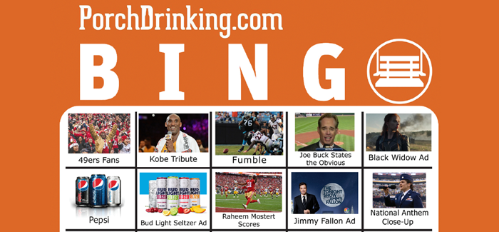 PorchDrinking BINGO Super Bowl 54