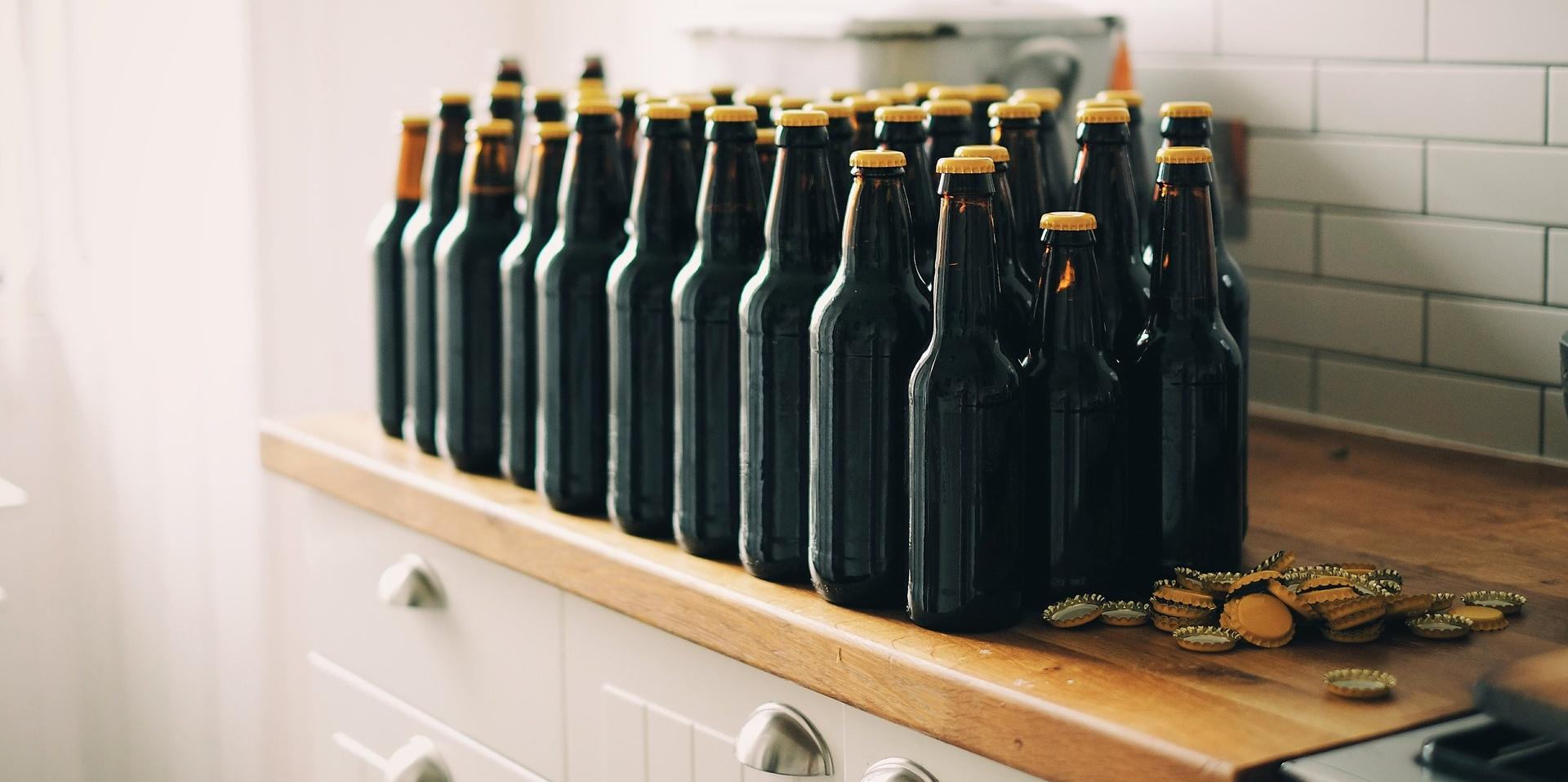 Homebrew bottles in kitchen