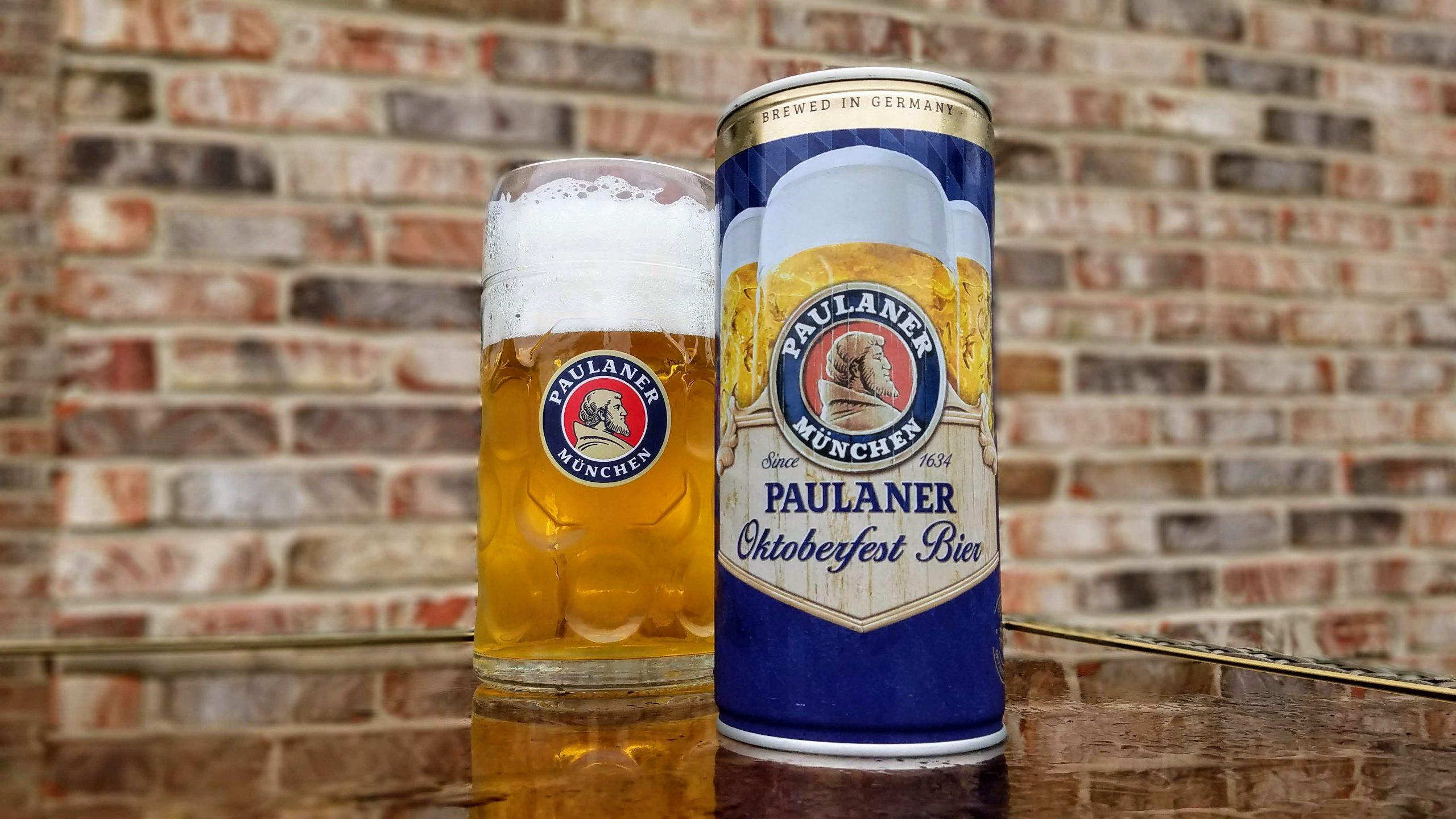 Paulaner Oktoberfest Lager in 1-liter can and mug set