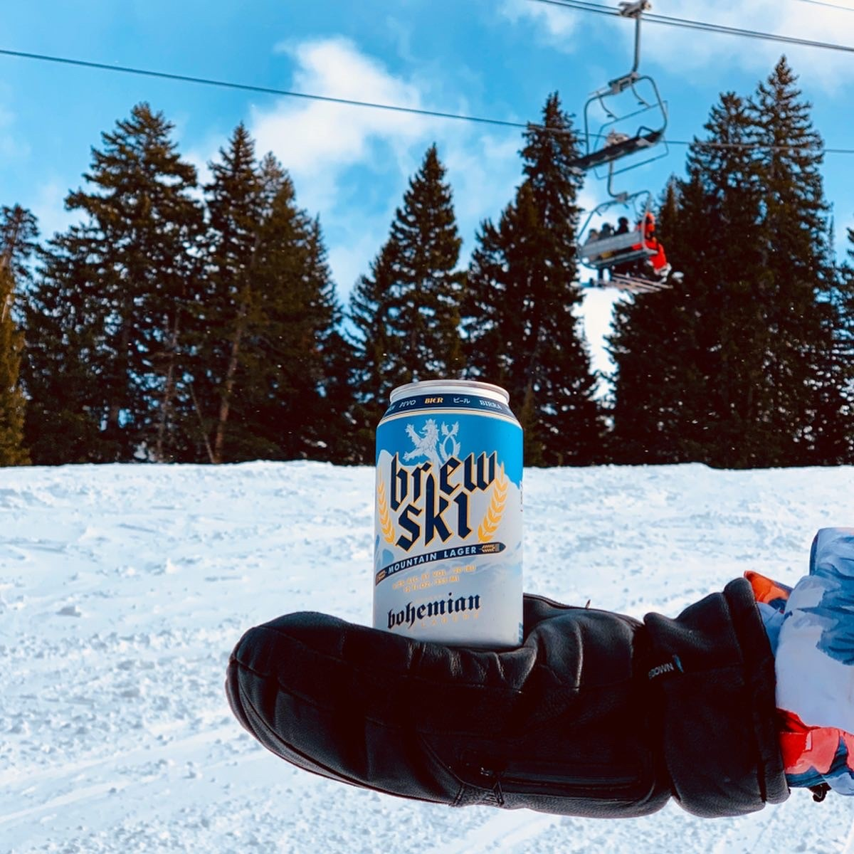 a can of Brewski on the slopes