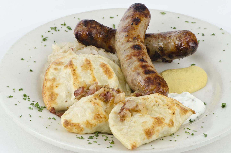 Bratwurst and dumplings