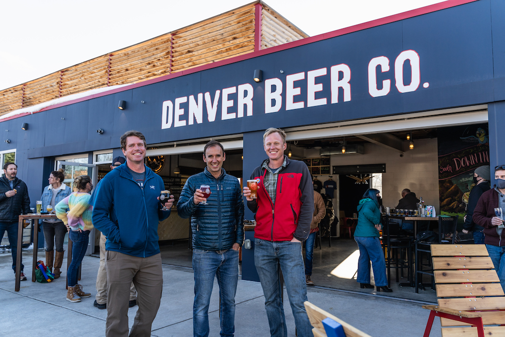 Denver Beer Co Co-Founders Patrick Crawford (middle), Charlie Berger (right), and Innovation Director, Andy Parker (left)