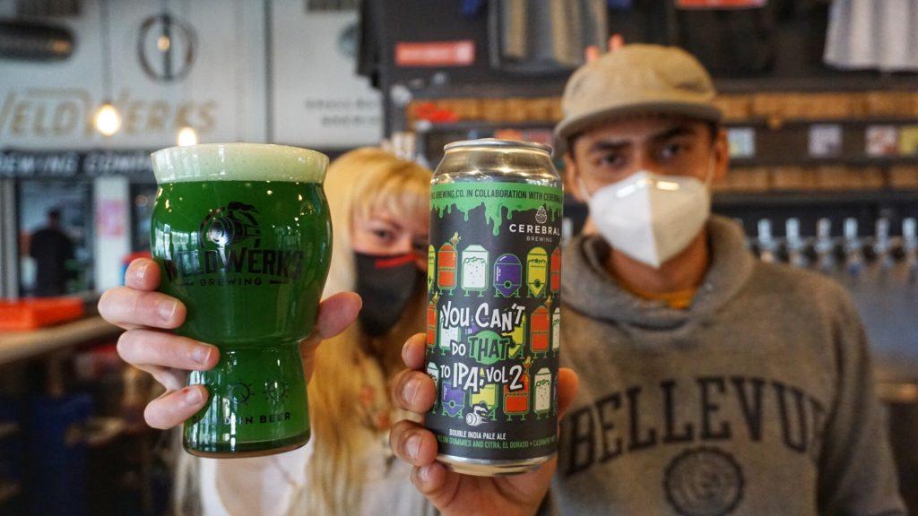WeldWerks staff holding beers