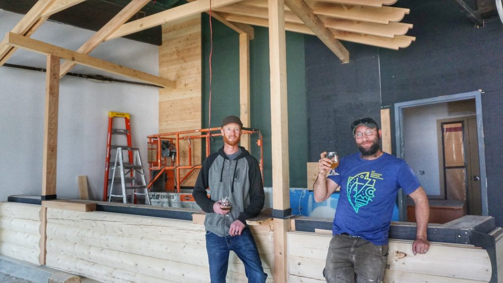 Chad Moore (left), and Jordan Fink (right), co-founders of Woods Boss Brewing