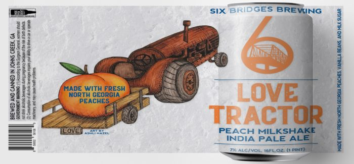 Six Bridges Brewing   Love Tractor Peach Milkshake IPA