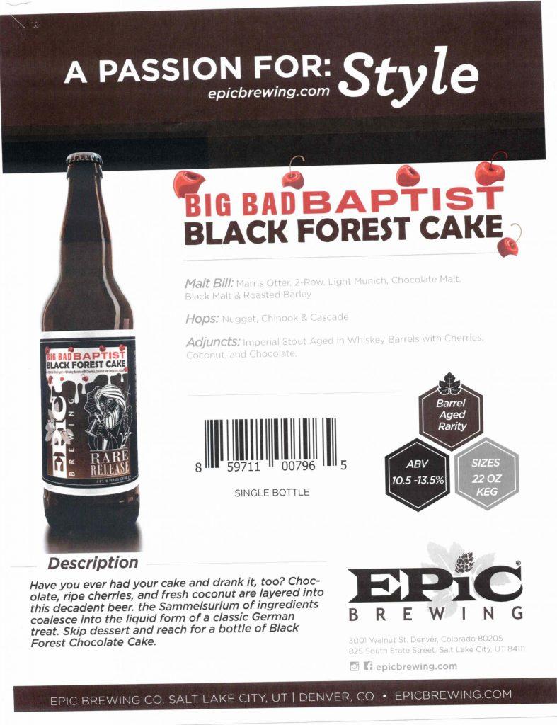 2021 Epic Brewing Big Bad Baptist Black Forest Cake