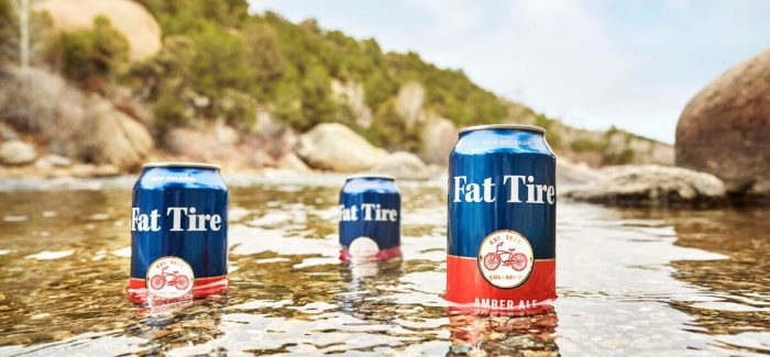 New Belgium Brewing Fat Tire Cans in River